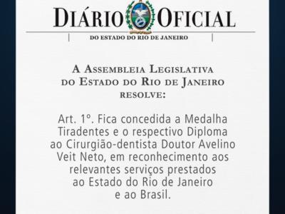 Dr. Avelino Veit recebe a Medalha Tiradentes